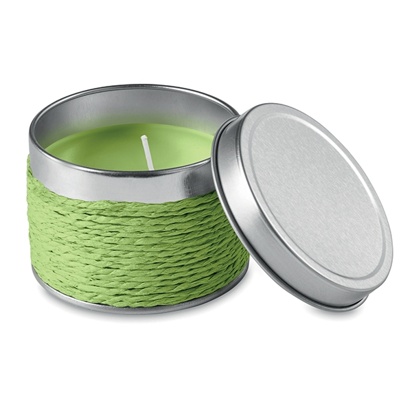 Scented candle wax in an aluminium tin