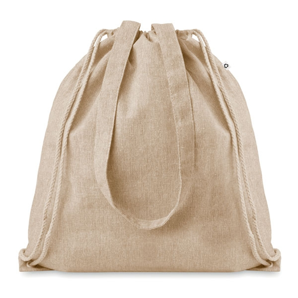 Recycled cotton shopping bag ● with drawstring and long handles.