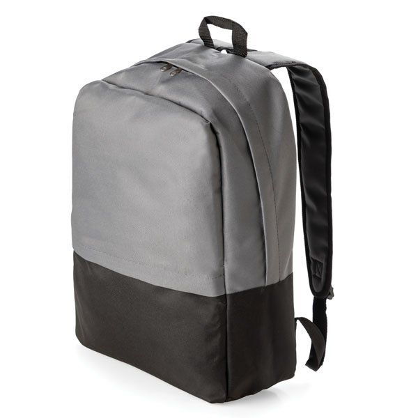 """One main zipped compartment ● one front zipped compartment ● adjustable back straps ● Fits most 17"""" laptops."""