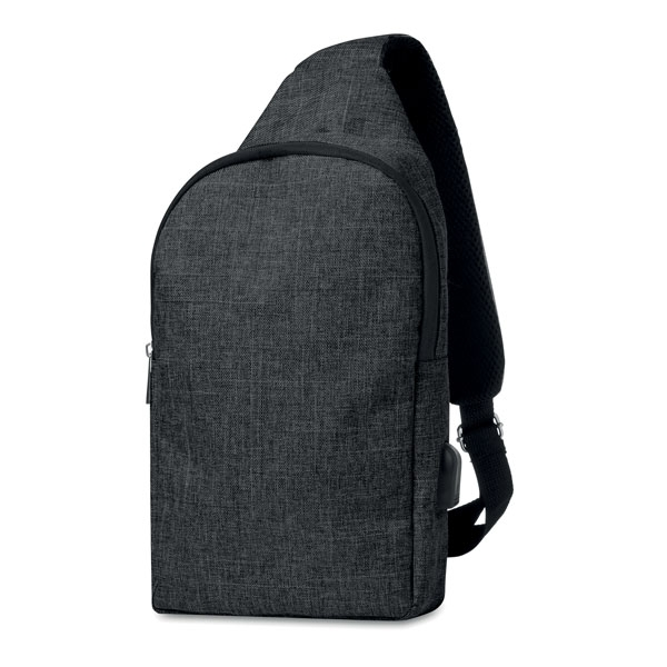 """Chest bag ● padding on both sides of bag ● includes inner pocket with RFID protection ● includes an additional empty plug on the side to put cables through and can connect to your own power bank ● Fits most 10"""" tablets."""