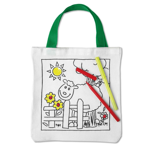 Cotton tote bag ● with 5 colouring pens.