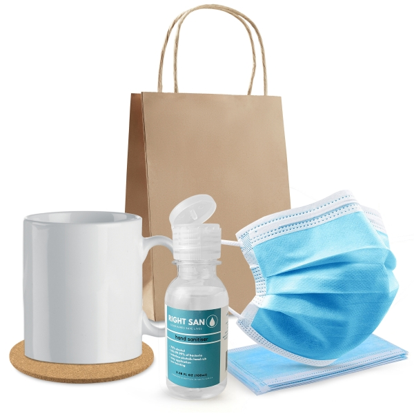 Set Consists Of : ● Mug ● Coaster ● 100ml Liquid Hand Sanitiser ● 5 Disposable Face Masks ● Small Paper Bag.Query stock availability with your sales consultant