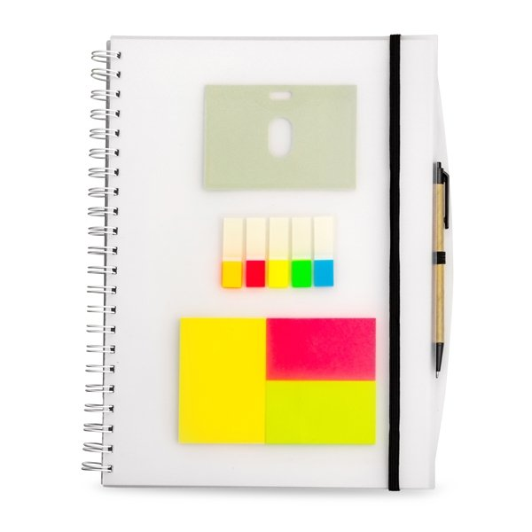A4 notebook ● with ± 140 white lined pages ● pen not included.