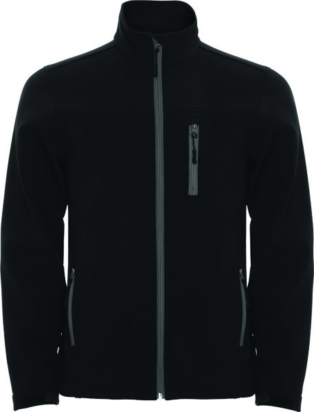 This softshell composed of two layers includes a full zip jacket with chin protector and zipper puller in matching colour