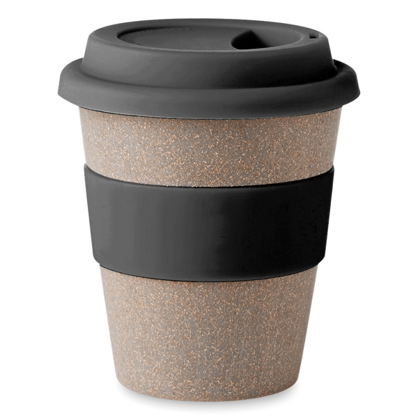 Eco friendly travel mug ● with single wall tumbler in bamboo fibre and PP plastic ● has matching colourful silicone lid and band ● NOT suitable for microwave use.
