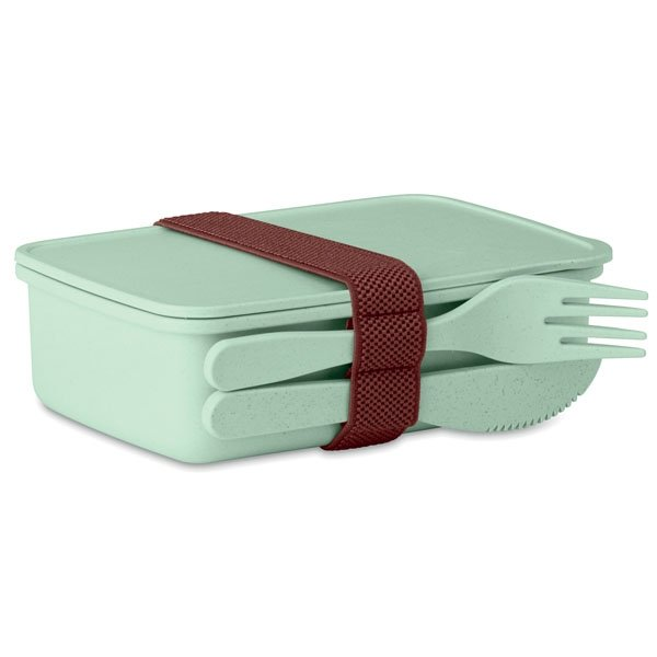 Lunch box ● made of bamboo fibre and PP plastic ● with one main compartment ● one knife and fork ● includes an elastic band to hold cutlery in place.
