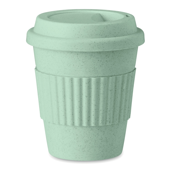Single wall tumbler ● made of bamboo fibre and PP plastic ● with a lid and grip.