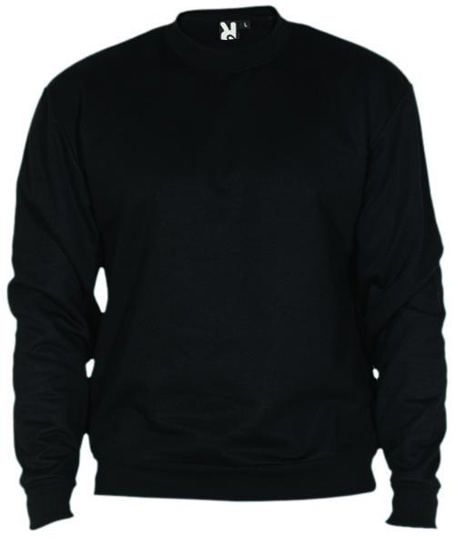 Crew neck sweatshirt with 1x1 rib elastane collar