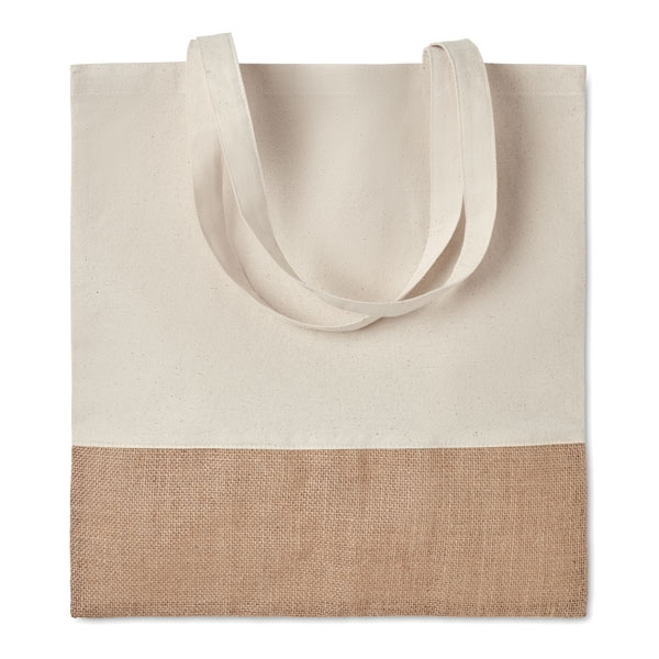 Twill cotton shopping bag ● with jute details ● long handles.