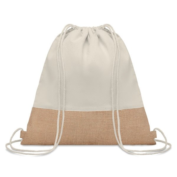Twill cotton drawstring bag ● with jute details.