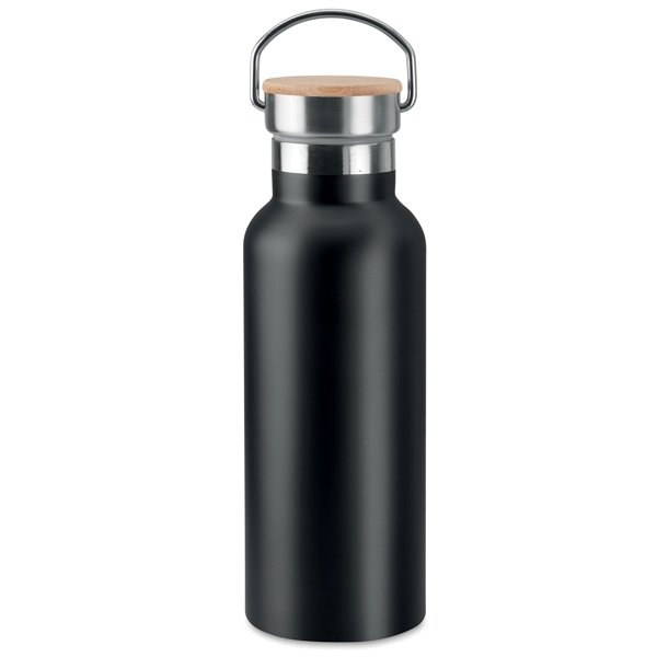 Double wall stainless steel insulation ● vacuum flask ● lid in bamboo ● with carry handle.