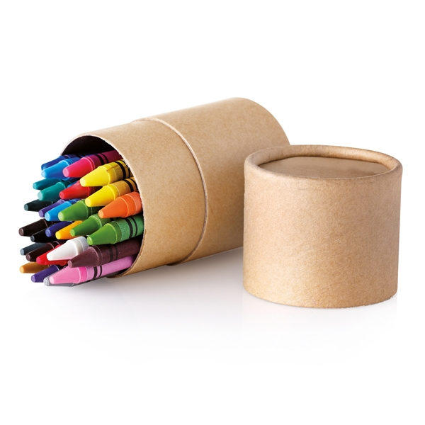 Cylindrical carton tube ● with 30 different colour wax crayons.