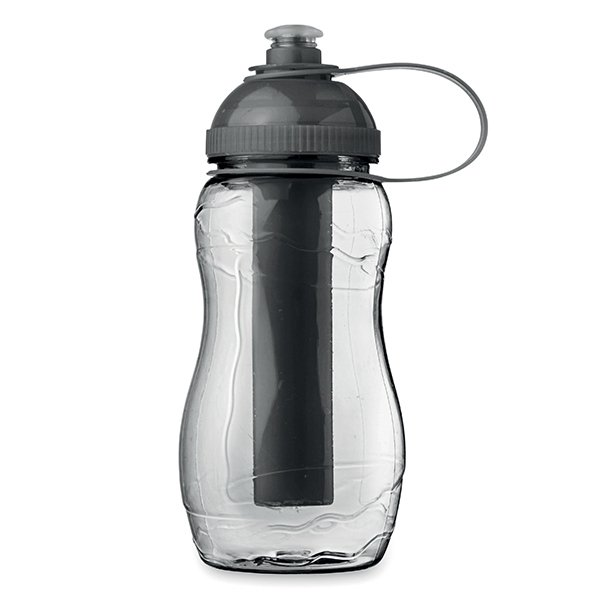 Bottle with freezing tube ● keeps water colder for longer.