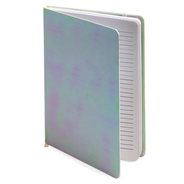 A5 notebook ● with ribbon place holder and an elastic closure ● ± 160 white lined pages.