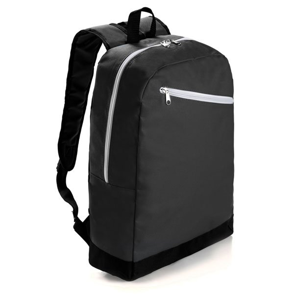 Backpack with one main zipped compartment ● one front zipped compartment ● adjustable shoulder straps.