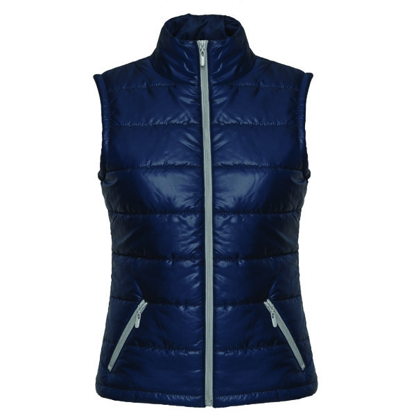 This body warmer.includes a contrasting zipper up to chin