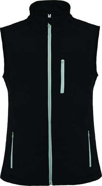This soft Shell Vest has a contrast inverted zipper sealed effect
