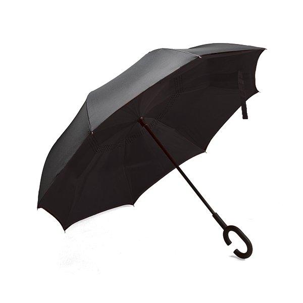 8 Panel windproof umbrella ● black rubberised hook handle.