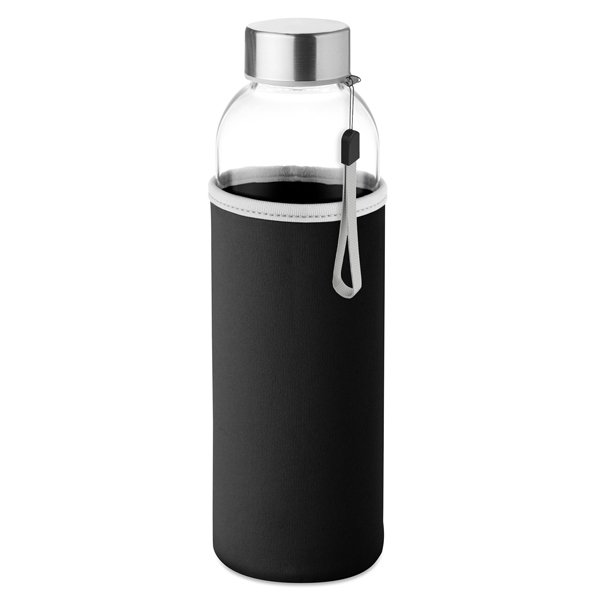 Glass water bottle ● with neoprene pouch.
