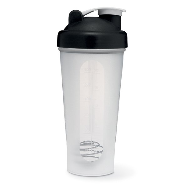 Protein shaker ● with water guidelines on the front ● comes with a stainless steel ball ● pop-off spout ● BPA free.