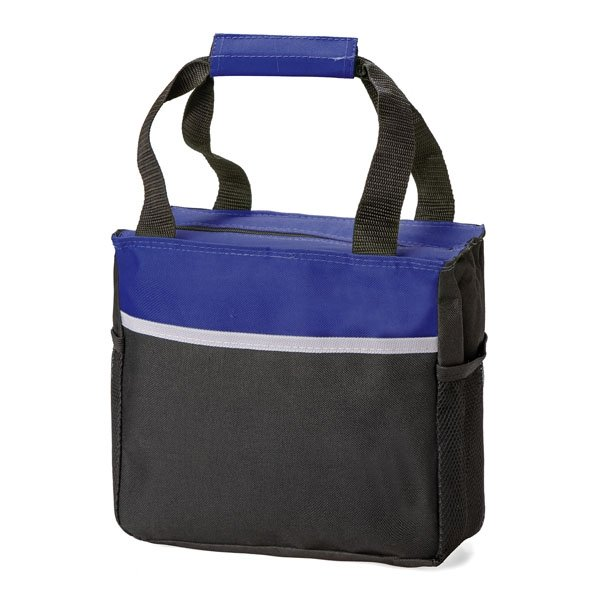 One main zipped compartment ● two mesh pockets on either side of cooler bag ● velcro handle closure ● Can hold up to 12 cans
