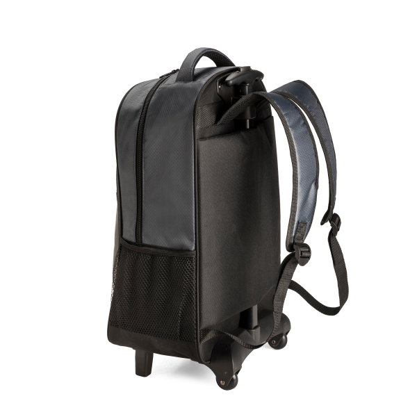 """Laptop trolley backpack ● with one main zipped compartment ● one front zipped pocket ● two side mesh pockets ● PU dome badge ● Fits most 15"""" laptops."""