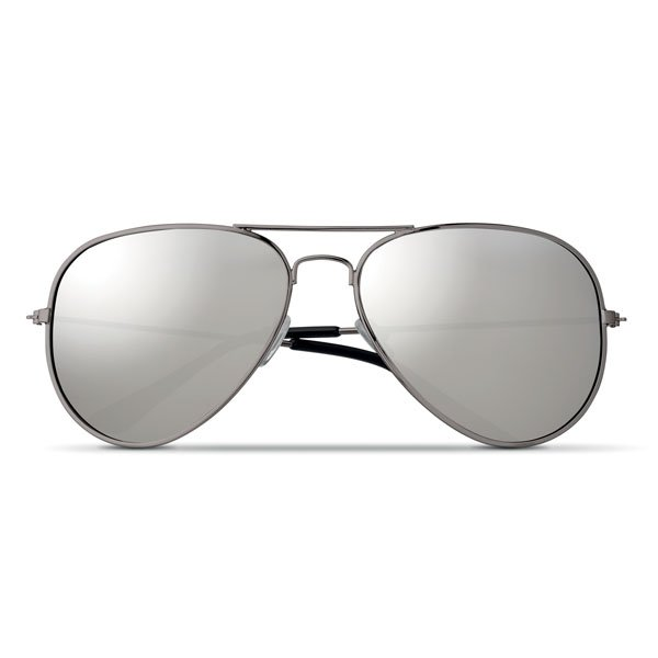 Trendy sunglasses ● with mirror coloured AC plastic lenses ● black PC plastic arm caps ● TPE nose pads ● UV400 protection ● includes microfibre polyester pouch that can be used as a cleaning cloth.