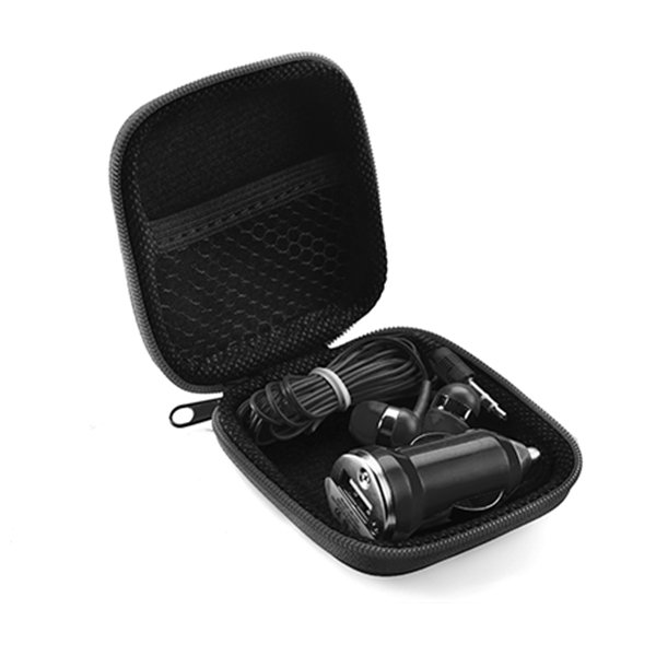Earbuds ● car charger adapter in colour case.