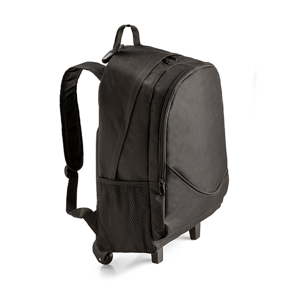 """Laptop trolley backpack ● with one main zipped compartment ● one front zipped cmpartment ● two side mesh pockets ● Fits most 15"""" laptops."""