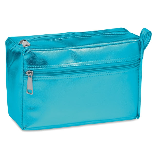 Cosmetic bag ● with double zipper ● has a shiny coating.