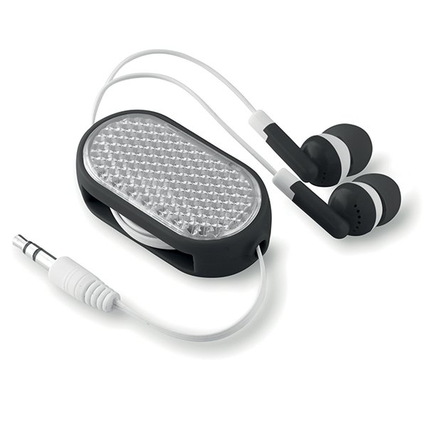 Includes retractable earphones with reflective front.