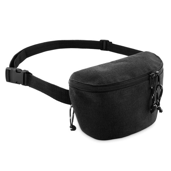 Front and back zipped compartments ● with adjustable waist strap.