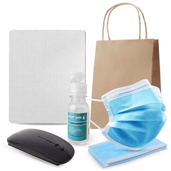 Set Consists Of : ● Mouse Pad ● Wireless Mouse ● 100ml Liquid Hand Sanitiser ● 5 Disposable Face Masks ● Small Paper Bag.Query stock availability with your sales consultant