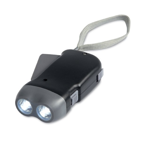 Charcoal coloured push charge torch ● 2 LEDs ● 3 AG10 batteries included.