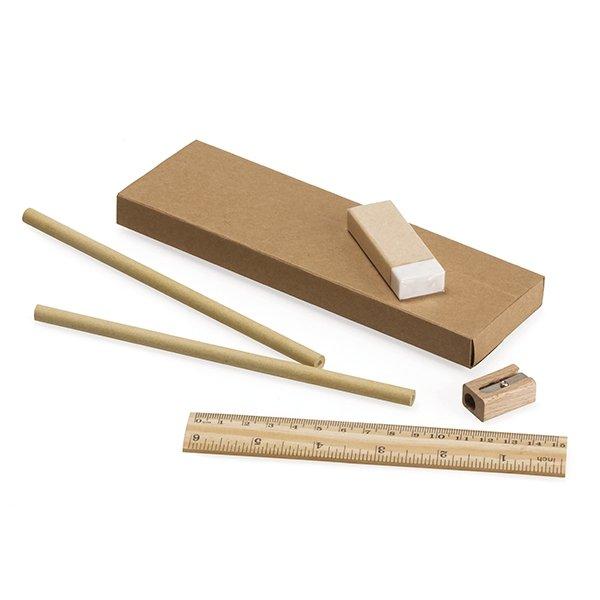 Set consists of 1 sharpener ● 15cm ruler ● 1 eraser ● 2 standard unsharpened grey lead pencils ● paper box.