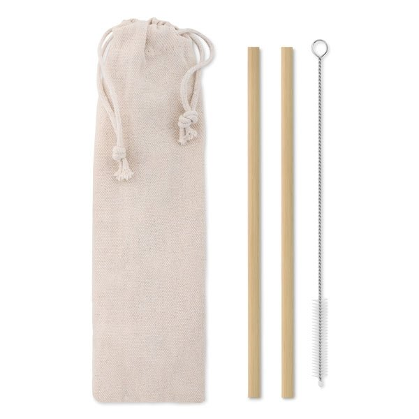 Set of two reuseable bamboo straws ● with stainless steel nylon cleaning brush ● that comes in a cotton pouch ● Since bamboo is a natural material the thickness and surface can vary.