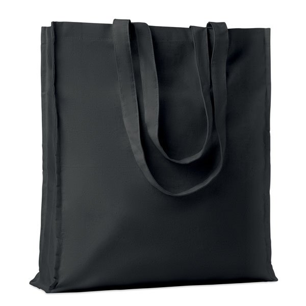Cotton shopping bag ● with long handles and gusset.