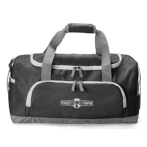 Sports bag with 1 main zipped compartment ● 1 front zipped compartment ● 2 side zipped pockets ● velcro closure carry handle ● adjustable shoulder strap.