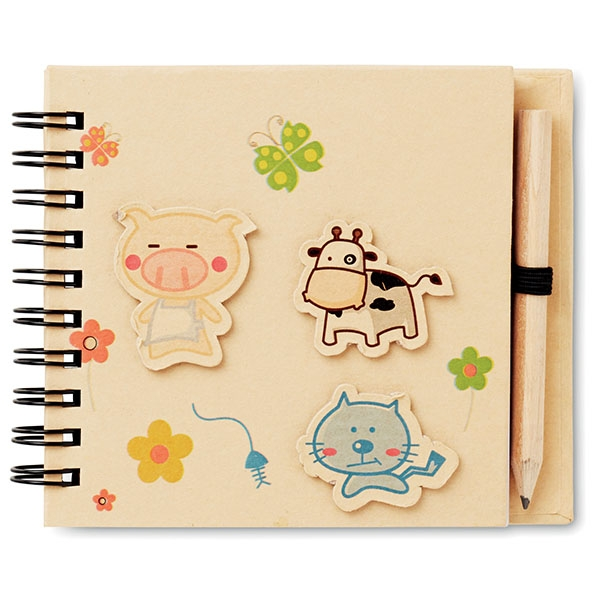 Children's notepad ● ± 70 pages ● standard grey lead pencil.