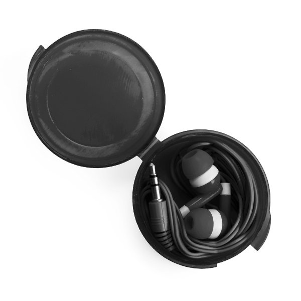 Earbud set ● round colour matching case.