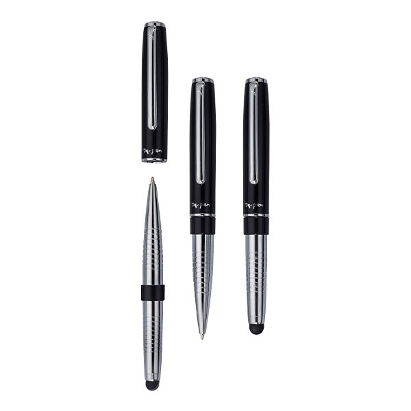 Metal pen with black ink.