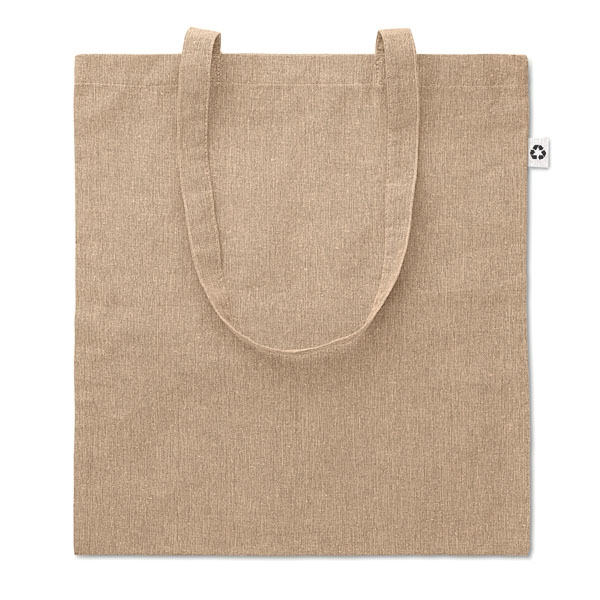 2 tone ● 100% recycled cotton shopping bag ● with long handles.