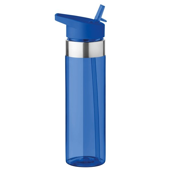 Tritan plastic water bottle ● with stainless steel details ● foldable mouth piece ● BPA free.