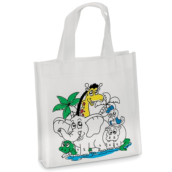 A non-woven kiddies shopper with 5 colour markers