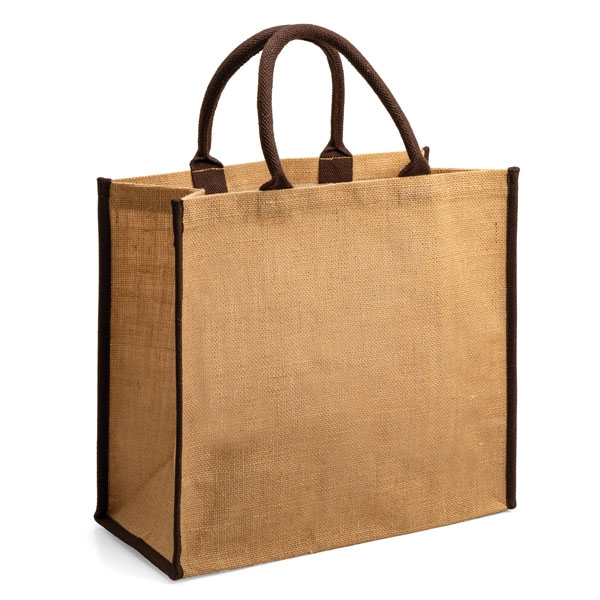 Elegant tote ● with brown padded handles ● perfect trim ● one main compartment.