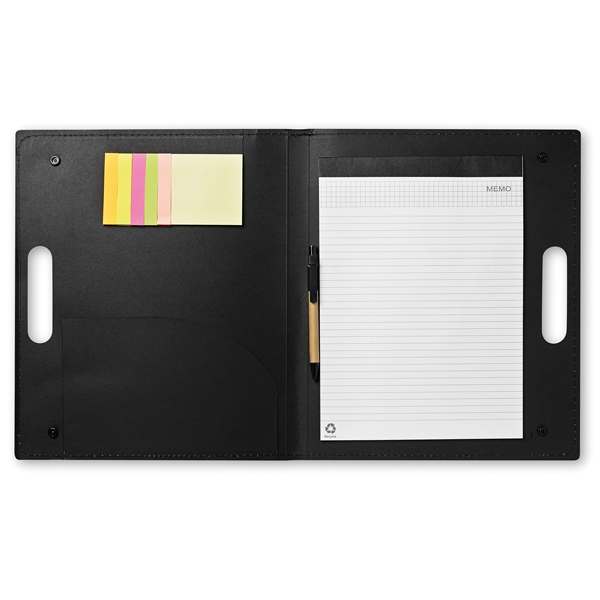 Conference folders ● with 6 coloured sticky notes ● ± 20 page notepad ● includes a recycled pen with black ink.
